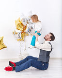 Father holding his daughter. Family celebration. Stock Images