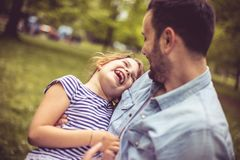 Fathers hug. Day in nature. royalty free stock photography