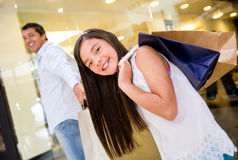 Father and daughter at the mall Royalty Free Stock Photos