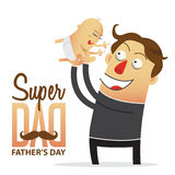 Father holding his son. Cartoon character. Royalty Free Stock Photography