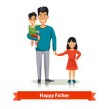 Father holding his son and daughter's hand. Father holding his son in arms and holding her daughter's hand. Happy family flat style vector illustration Stock Images