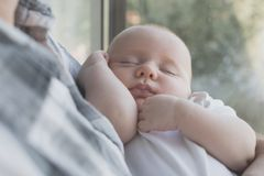 Father Holding Newborn Baby Son Royalty Free Stock Photo