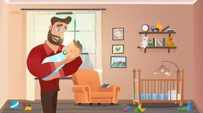 Father Holding Son at Home Interior Child Room royalty free illustration