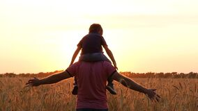 Father holding son on shoulders, imitating the flight of the aircraft. Silhouette of a happy family at sunset. stock video footage