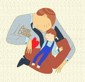 Father holds a child on his hands. against the background of puzzles, symbols of autism. illustration royalty free illustration