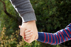 Father holds daughter's hand. Close up of adult man and female child holding hands over green leafy background Stock Images