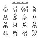 Father icon set in thin line style Royalty Free Stock Photos