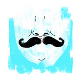 Father illustration. Abstract man with moustache, blue background Royalty Free Stock Images