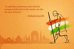 Father of India. Illustration of Mahatama Gandhi on India background