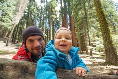 Father with infant son visit Sequoia national park in California, USA.  royalty free stock photography