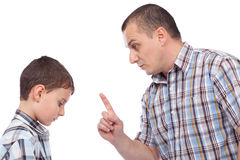 Father keeping a lesson to his son. About behaving Stock Photography