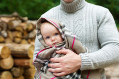 The father keeps the baby in embraces Stock Photography