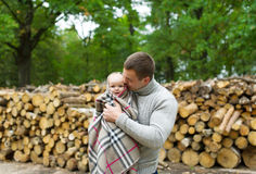 The father keeps the baby in embraces Royalty Free Stock Photography