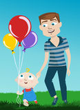 Father and kid. Cartoon style father and kid illustration vector Royalty Free Stock Image