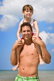 Father & kid - beach vacation Stock Image