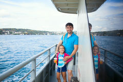 Father and kid during Bosphorus cruise Stock Image