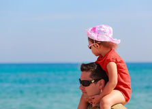 Father and kid girl sitting on Stock Photos