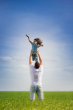 Father and kid outdoor Royalty Free Stock Photos