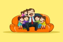 Father with Kid sitting in Sofa Royalty Free Stock Photography