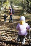 Father and kids in autumn forest Stock Image