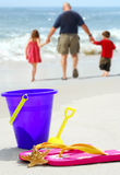 Father and Kids at Beach Stock Image
