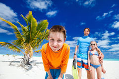 Father with kids at beach Royalty Free Stock Photo