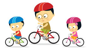 Father and kids biking (Asian) Royalty Free Stock Image