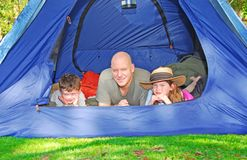 Father and Kids Camping stock images