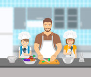 Father and kids cooking together at kitchen flat illustration Royalty Free Stock Images