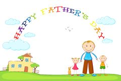 Father with Kids in Father's Day background Stock Photos