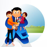 Father with kids for Father's Day celebration. Royalty Free Stock Photography