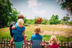 Father and kids looking at elephants in zoo. Family day trips, learning animals stock photos