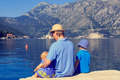 Father with kids looking at scenic view in Perast Stock Photos