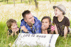 Father and kids in nature Stock Photography