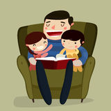 Father and kids reading. vector illustration. Father and kids reading. cartoon characters. vector illustration Royalty Free Stock Photos