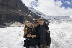 Father and kids in the rockies Royalty Free Stock Photography