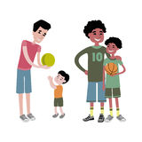 Father and kids together character vector. Stock Images