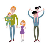 Father and kids together character vector. Royalty Free Stock Photo