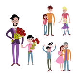 Father and kids together character vector. Stock Image