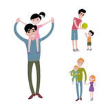 Father and kids together character vector. Royalty Free Stock Image