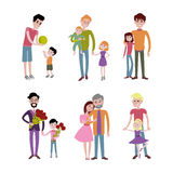 Father and kids together character vector. Royalty Free Stock Photos