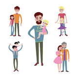 Father and kids together character vector. Stock Photography