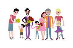 Father and kids together character vector. Royalty Free Stock Photography