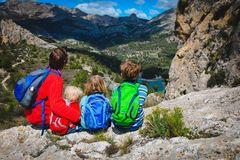 Father with kids travel hiking in mountains,Guadalest, Alicante, Spain. Father with son and daughter travel hiking in mountains,Guadalest, Alicante, Spain stock images