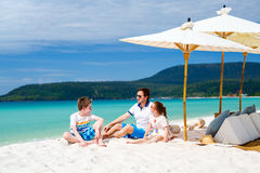 Father and kids at tropical beach Royalty Free Stock Photo