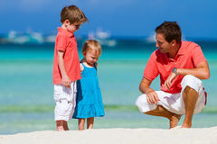 Father and kids on vacation Stock Photos
