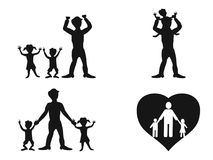 Father with kids vector Stock Image