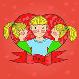 Father kiss daughter twins. heart. love. family. vector Royalty Free Stock Photo
