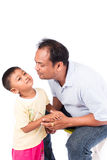 Father kiss his son. Portrait of father kiss his son Stock Photography