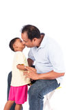 Father kiss his son. Portrait of father kiss his son stock photo